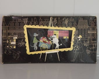 Complete Set of Kentley DeLuxe Buffet Trays with The Romance of  Fifi and Pepe Poodles in Paris
