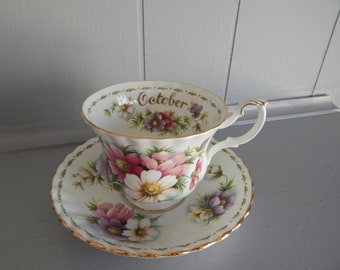 October Cosmos Flower of the Month Tea Cup and Saucer / Royal Albert Bone China