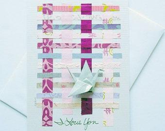Valentine Day Greetings,Valentine Cards,Handmade Valentine Cards,Valentine's Day Greeting Cards,Origami Paper Crane Art Card,Blank Notecard
