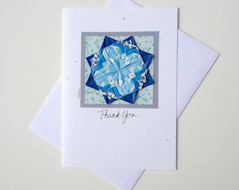 Thank You Greetings,Thank U Greetings,Thank Greetings,Thank You Note for the Gift,Origami Flower,Blue Mandala,Handmade Greeting Cards