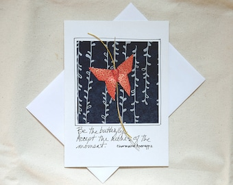 Friendship Greeting Cards,Best Friend Greeting,4 All Cards,Butterfly Greeting Card for Encouragement,Art Gallery Cards,Cool Origami Cards
