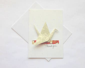 Thank You Greetings,Thank Greetings,Thank You Note for Gift,3D Origami Art Card,Paper Crane Origami,Greeting Cards Handmade,Blank Notecard