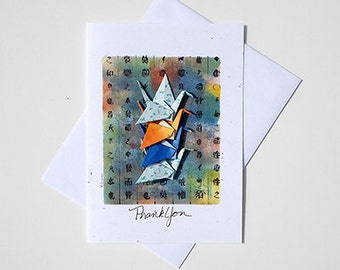 Thank You Greetings,Thank U Greetings,Thank Greetings,Thank You Note for Gift,Paper Origami Card,Paper Crane Origami Art Card,Greeting Cards