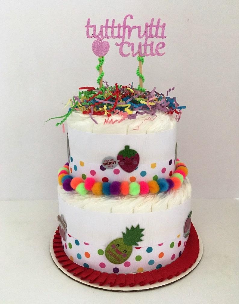 Tutti Frutti Diaper Cake 2 Layer Neutral
