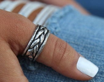 Boho Rings, Thumb Ring, Boho Jewelry, Handmade Boho Sterling Silver Thumb Ring, Braided Thumb Ring, Boho Thumb Ring, Silver Boho Style Rings
