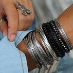 Boho Bracelet, Boho Wrap Bracelet, Wrap Boho Bracelet, Beaded Wrap Bracelet, Bohemian Bracelet, Boho Jewelry Black Wrap Leather Bracelet
