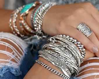 Bracelet Stack, Instant Collection, Sterling Silver Stacking Bracelets, Silver Cuff Bracelet Set, Silver Chain Bracelets Silver Bracelet Set