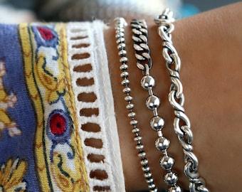 Boho Jewelry Sterling Silver Bracelet Set, Instant Bracelet Stack Collection, Stacking Bracelets, Silver Boho Jewelry Boho Layering Jewelry