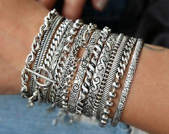 Boho Jewelry, STACKING BRACELETS, Sterling Silver Stacking Bracelets, Layered Boho Jewelry, Boho Bracelet Stack, Sterling Silver Bohemian