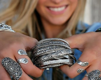 Boho Jewelry Stacking Bracelets, Boho Cuff Bracelet, Silver Boho Bracelet Gifts for Women, Boho Jewelry Gift, Boho Stacking Cuff Bracelet