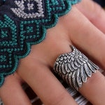 Sterling Silver Wing Ring, Silver Angel Wing Ring, Silver Feather Ring, Boho Angel Wing Jewelry, Boho Silver Angel Wing Ring Bohemian Hippie