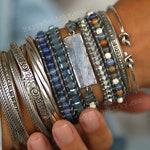 Boho Jewelry, Boho Wrap Bracelet, 5X Leather Wrap Bracelet, 5X Wrap Boho Bracelet, Blue Leather Wrap Bracelet, Kyanite Bracelet Boho Jewelry