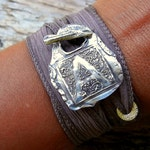 Monogram Jewelry, Silk Wrap Bracelet, Initial Wrap Bracelet, Sterling Silver Bracelet, Silver Jewelry, Sterling Silver