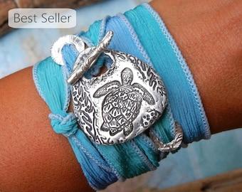 Sea Turtle Jewelry, Silk Wrap Bracelet, Sea Turtle Silk Ribbon Bracelet, STERLING Silver Jewelry, Sea Life Jewelry, Tartaruga, Tortuga