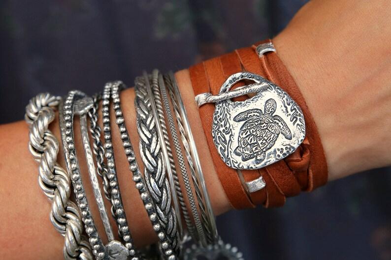 Sea Turtle Jewelry Sea Turtle Bracelet Silver Nautical image 0