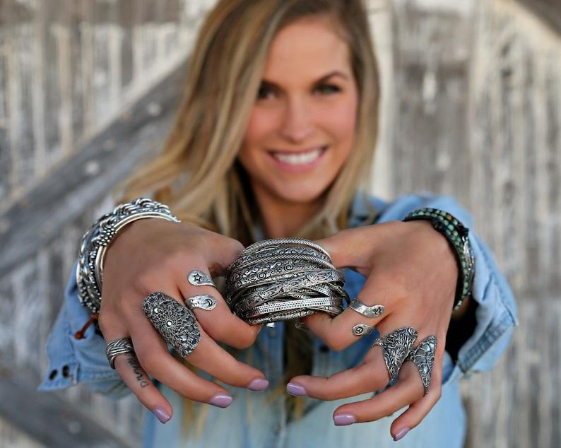 Boho Jewelry Stacking Bracelets Boho Cuff Bracelet Silver image 0