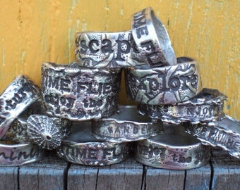A Pair of His and Hers Personalized Custom Rings, Inspirational Quote Jewelry, in Sterling Silver, Sizes 4 5 6 7 8 9 10 11 12 13 14 15