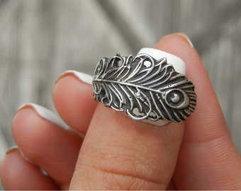 Peacock Feather Jewelry, Unique Silver Peacock Feather Ring, Unique Boho Peacock Feather Boho Jewelry, Unique Artisan Peacock Feather Ring