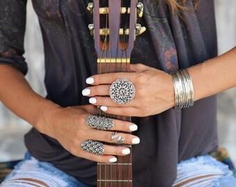 Chunky Ring, Boho Jewelry, CHUNKY BOHO RING, Boho Chic Jewelry, Bohemian Fashion Jewelry Ring Sterling Silver Bohemian Ring, Giant Disk Ring