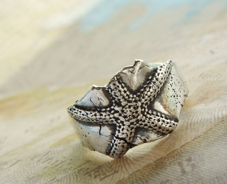 Starfish Silver Ring Nautical Jewelry Sterling Silver Ring image 0