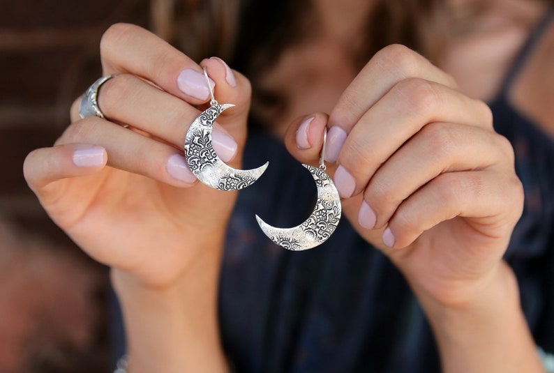 Sterling Silver Crescent Moon Earrings Sterling Silver moon image 0