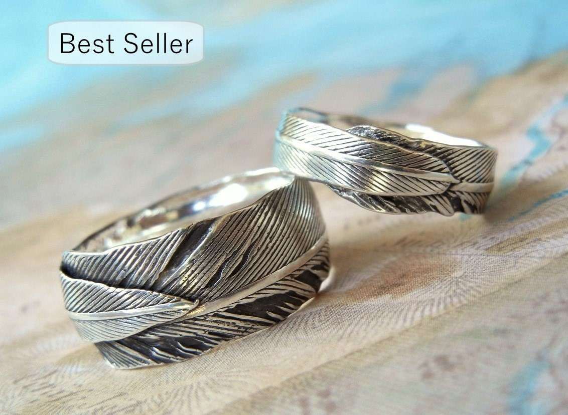 Unique Wedding Rings Silver Wedding Bands Sterling Silver Etsy