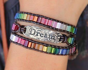 Boho Jewelry, Boho Bracelet, Boho Leather Wrap Bracelet, Boho Chic Jewelry, Leather Bohemian Bracelet, Hippie Bracelet, Boho Dream Bracelet