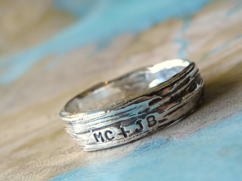 Rustic Bark Ring Personalized Silver Jewelry Lover's Ring image 0