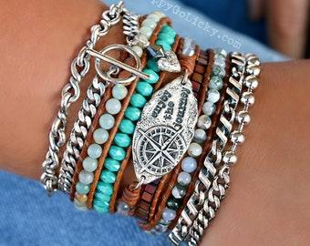 Boho Jewelry, Boho Wrap Bracelet, 5X Leather Wrap Bracelet, 5X Wrap Boho Bracelet Bohemian Leather Wrap Bracelet, Wrap Bracelet Boho Jewelry