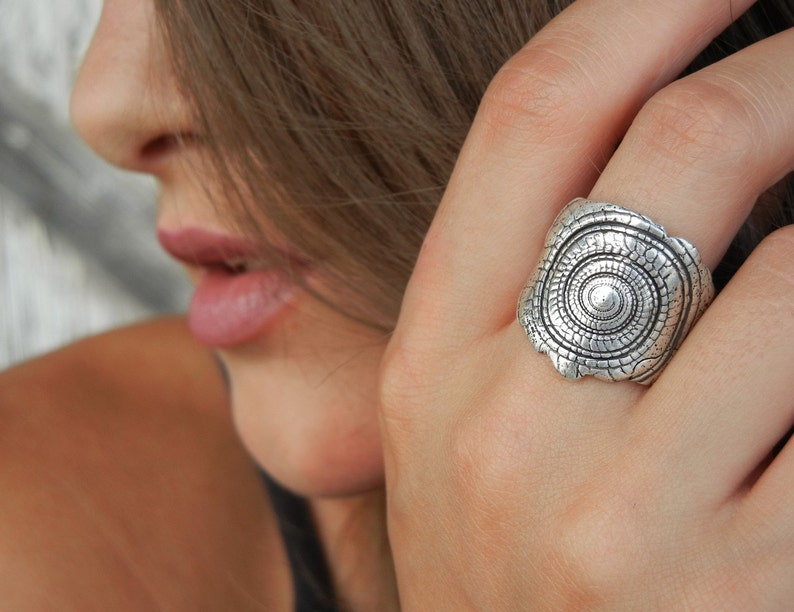 Silver Shell Ring Nautical Jewelry Seashell Ring Shell image 0