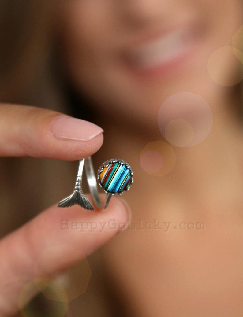 Nautical Jewelry Nautical Ring Nautical Mermaid Ring Ocean image 0