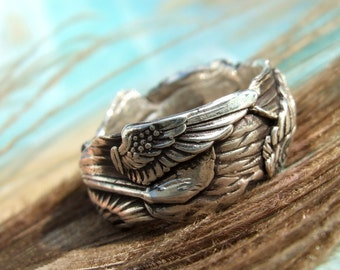 Angel Wings Ring, Angel Wing Silver Ring, Angel Wing Jewelry, Eco Friendly Jewelry, Eco-Friendly Ring Size 4 5 6 7 8 9 10 11 12 13 14