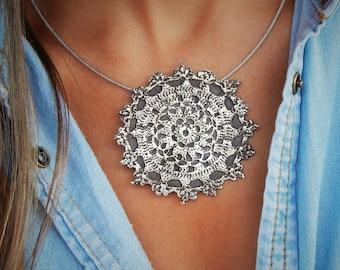 Boho Jewelry, Boho Necklace, Sterling Silver Boho Necklace, Hippie Jewelry, Hippie Necklace, Bohemian Silver Hippie Necklace for Hippies