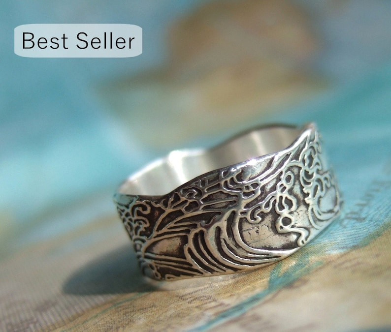 Nautical Gift Nautical Silver Ring Ocean Waves Jewelry Gift image 0
