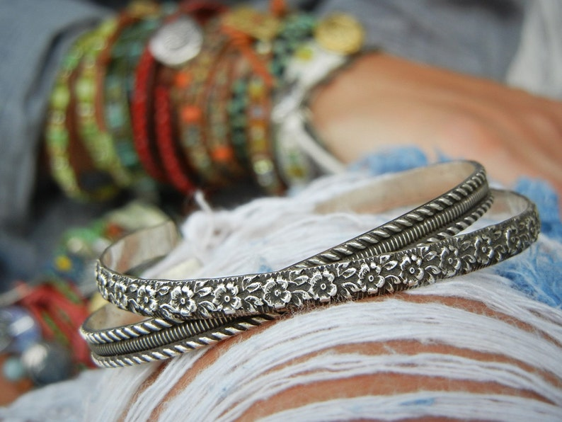 Sterling Silver Cuff Bracelet ONE Cuff Bracelet Stacking image 0