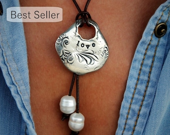 Boho Jewelry Necklace, Boho Necklace, Boho Leather Jewelry, Silver Boho Jewelry, Silver Boho Necklace, Leather Boho Necklace, Gypsy Necklace