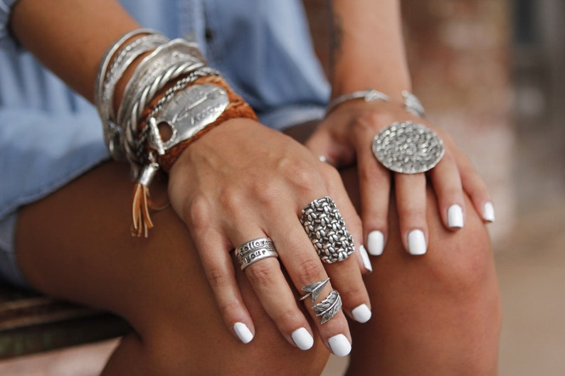 Chunky Boho Ring Chunky Sterling Silver Rings Boho Jewelry image 0