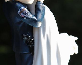 Police Officer Bride Groom Guns Wedding Cake Topper law