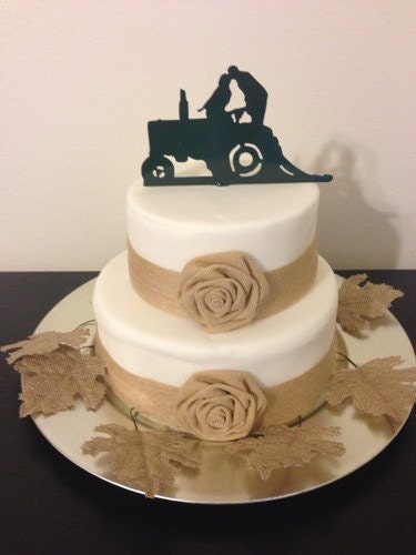 Country Western Redneck Farm Tractor wedding cake topper farmer