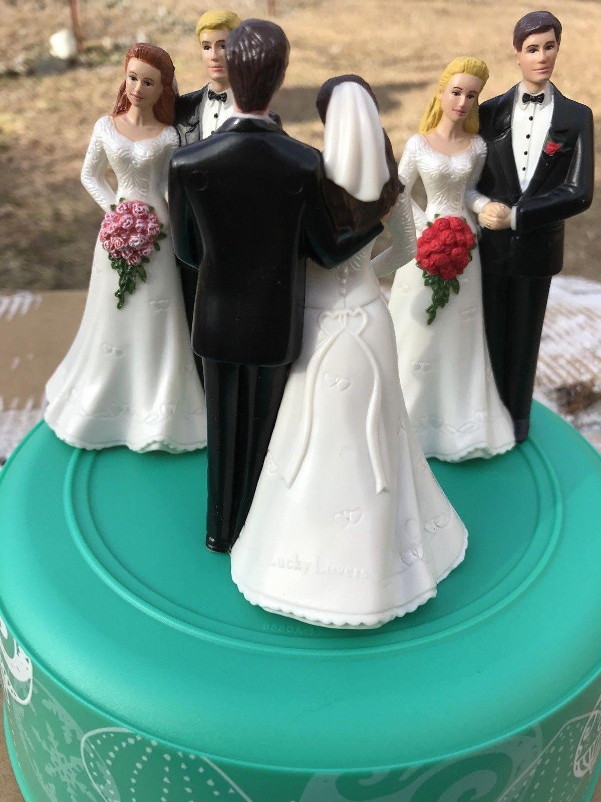Classic BUDGET wedding cake topper Bride Groom Flower bouquet~YOUR ...