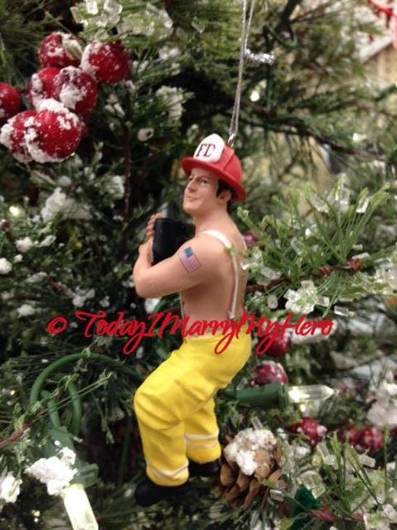 image 0 - Hunk Fireman Firefighter Christmas Ornament Stocking Stuffer Etsy