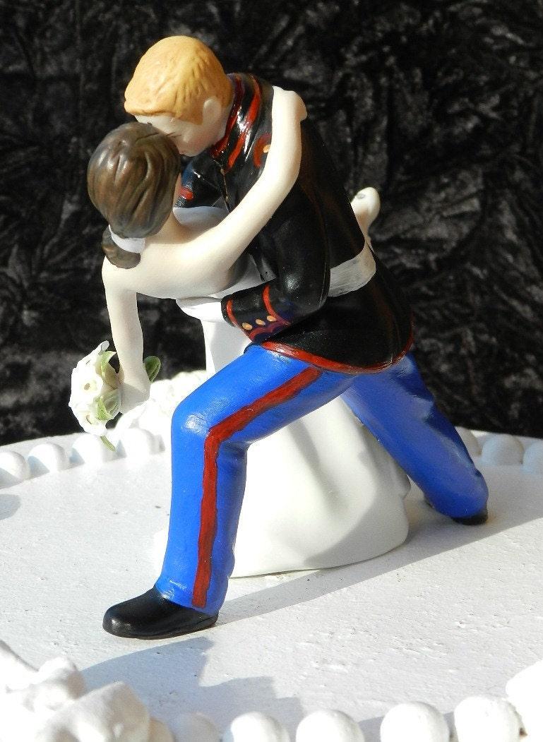 military USMC Marine Corps groom uniform dance dip Wedding Cake Topper
