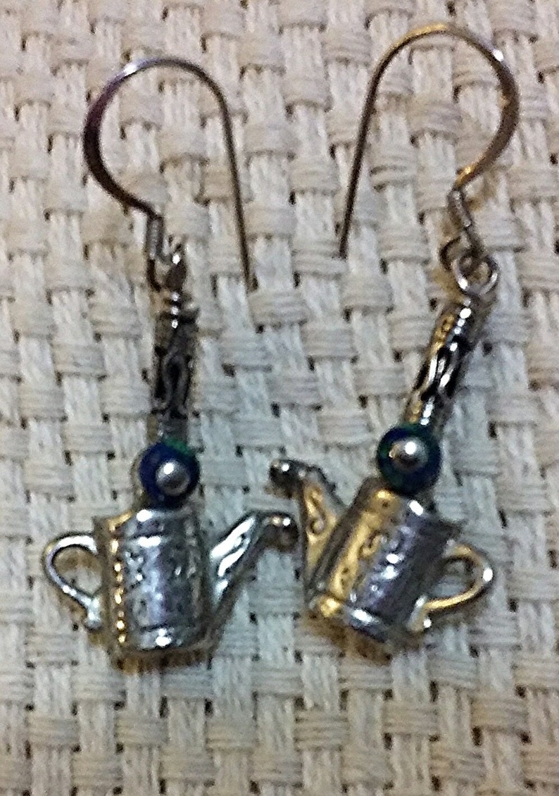 Lovely Silver Toned Watering Can Gardening Earrings on image 0