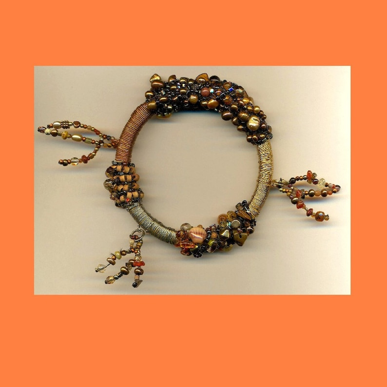 Copper Silver Gold Toned Brass Wire Wrapped Bangle with Pearls image 0