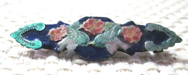 Hand Enameled Floral Bar Pin on Silver image 0