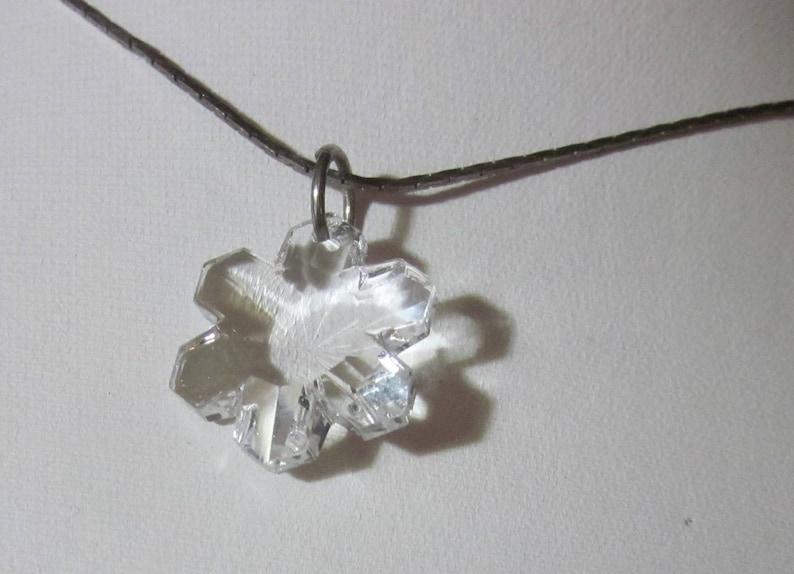 Swarovski Clear Crystal Snowflake Star on Black Woven image 0