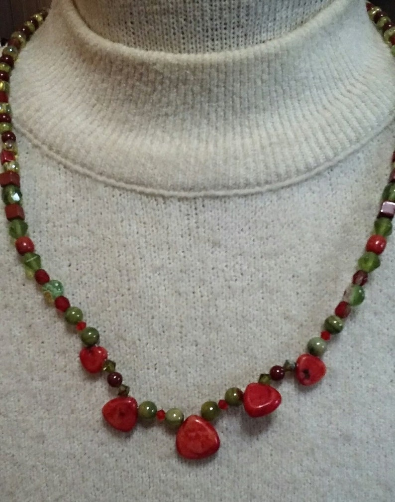 Red Coral Heart Choker Necklace image 0