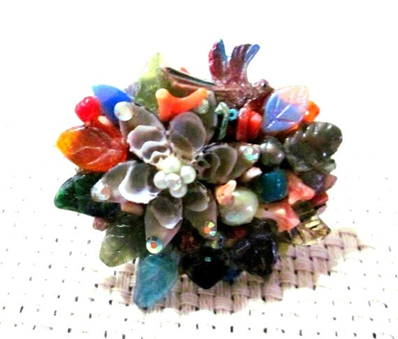 Multicolored Collage Pin with Shell Gemstones and Found image 0