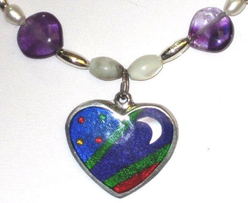Enamel on Sterling Silver Heart with Moon and Stars on Beaded image 0