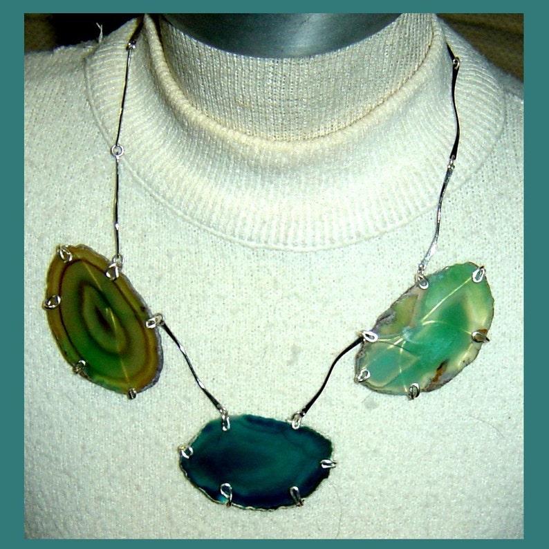 Ocean Agate Geodes on Vintage Silver Links image 0